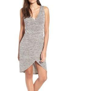 NWT Nordstrom Leith Melange Faux Wrap Dress Grey S